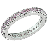 Purple sapphire white gold eternity ring