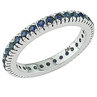 Blue sapphire white gold eternity ring