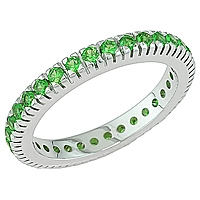 Tsavorite white gold eternity ring