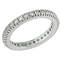White sapphire white gold eternity ring