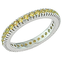 Yellow sapphire white gold eternity ring