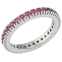 Pink sapphire white gold eternity ring