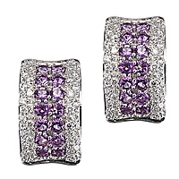 Purple amethyst white gold huggie earrings