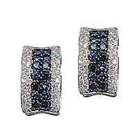 Blue sapphire white gold huggie earrings