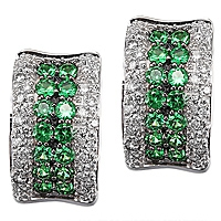 Tsavorite white gold huggie earrings