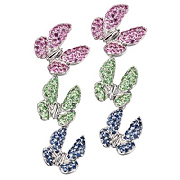 Pink, blue sapphire and tsavorite white gold drop earrings