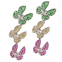 Yellow, pink sapphire and tsavorite white gold drop earrings