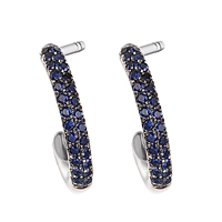 Blue sapphire white gold hoop earrings