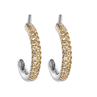 Grey sapphire gold hoop earrings