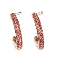 Lavender sapphire rose gold hoop earrings