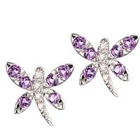 Purple amethyst white gold stud earrings