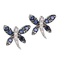 Blue sapphire white gold stud earrings