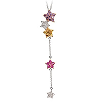 Yellow, pink sapphire and amethyst gold star necklace