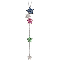 Blue, pink sapphire and tsavorite white gold star necklace