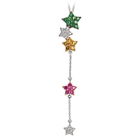 Yellow, pink sapphire and tsavorite gold star necklace